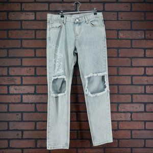 GLAMOROUS Light Wash Distressed High Rise Jeans S